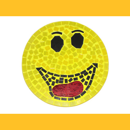 Smiley Happily Wandbild Glasmosaik Deko Wanddeko