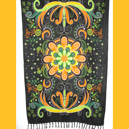 Sarong Pareo bunte Blume orange Wickelrock