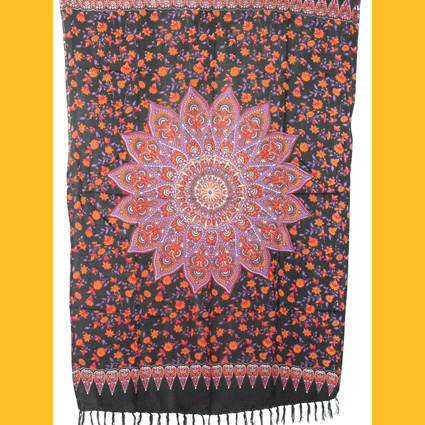 Sarong Pareo Sternblume Wickelrock rot-orange-lila