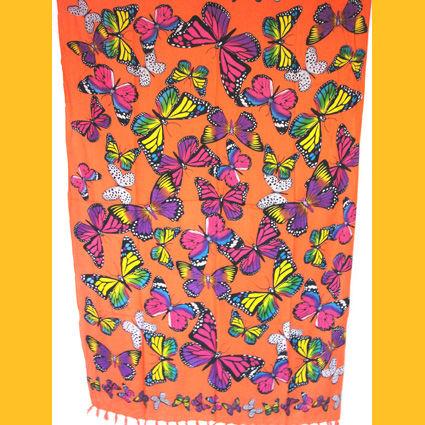 Sarong Pareo Schmetterlinge orange Wickelrock