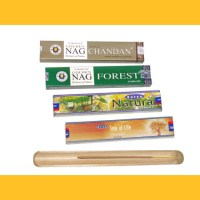 Räucherstäbchen Set, 4 Packungen á 15 g inkl. Bambus Räucherhalter, Natural Tree of Life Nag Forest Golden Nag Chandan