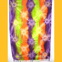 Sarong Pareo IV Wickelrock orange-violett-hellgruen